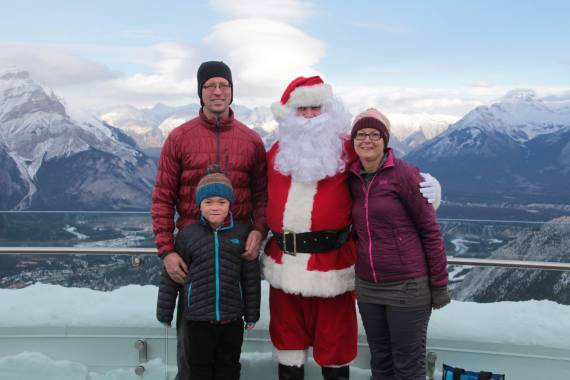 family with Santa in Banff