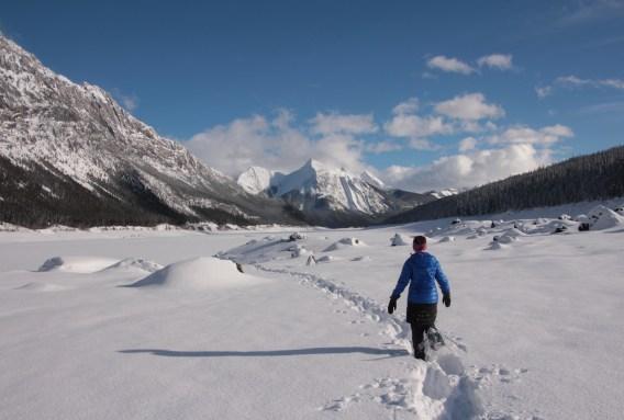 Snowshoeing near Maligne Lake, Jasper National Park