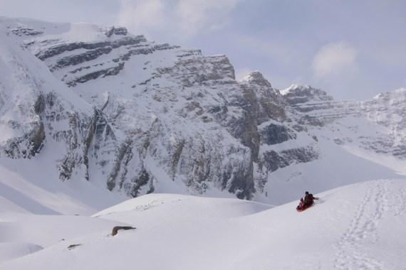 Sledding down Glacier Moraines at the Hilda Creek Hostel