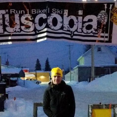 Sue Lucas at the Tuscobia finish line