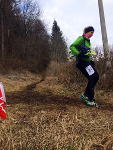 The author runs carrying her snowshoes on the final 3km (Photo by Marcus Fink)