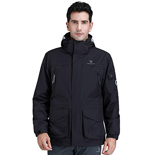 CAMEL CROWN Mens 3-in-1 Outdoor Jacket Waterproof Windproof Warm Ski Jacket with Pockets Hooded Two-Piece Winter Jacket with Fleece Jacket Casual Jacket for Snowboard Hiking Climbing Traveling