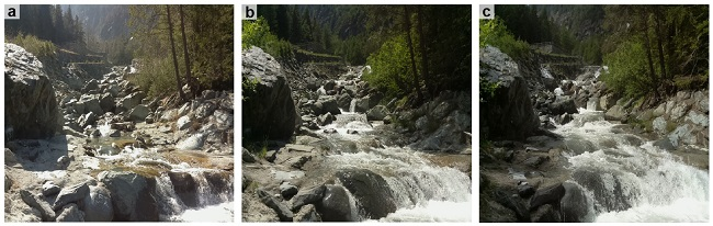 Esempio di tre immagini di un tratto sotteso da derivazione, associate a diverse condizioni di portata defluente