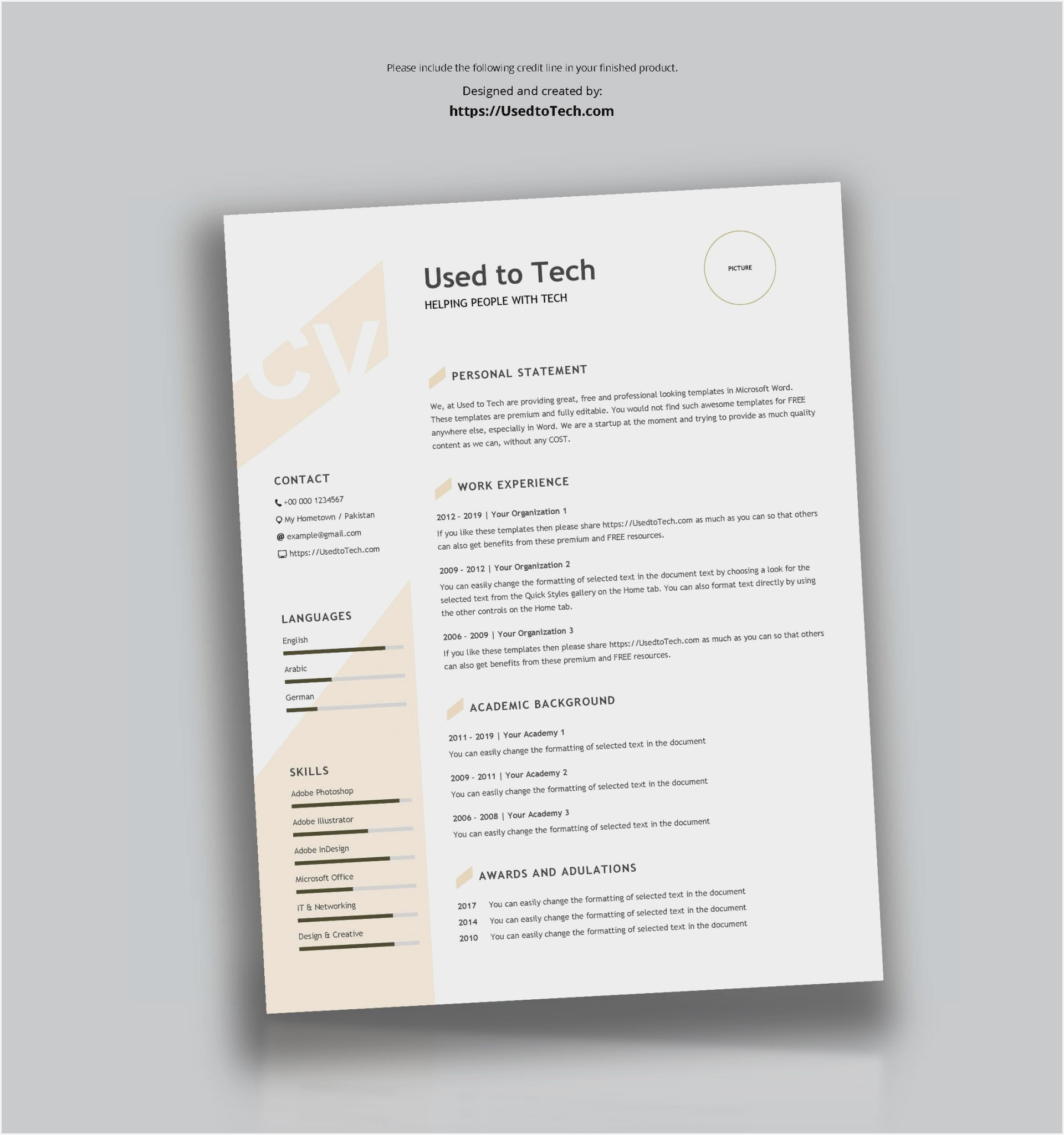 free resume/cv template for graphic designers. Apa Style 7th Edition Word Template
