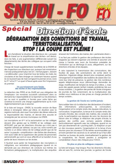 spécial direction - 04/2018
