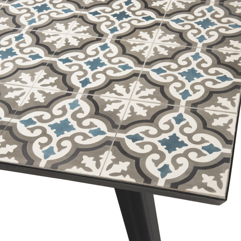 table de jardin 162x102cm avec plateau carreaux de ciment pieds metal noir marrakech