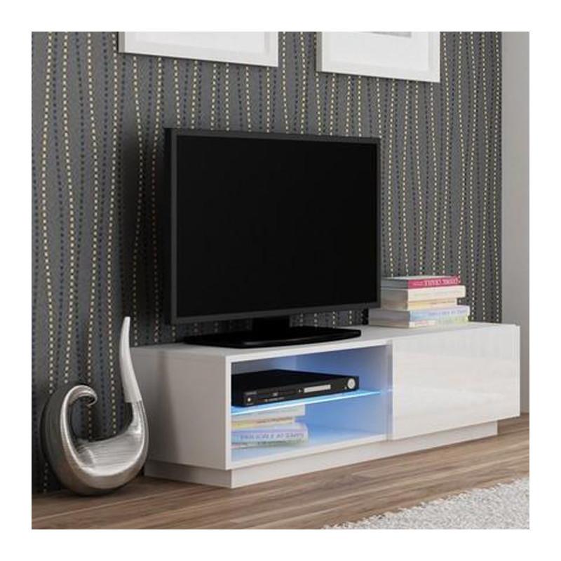 meuble tv blanc avec led 120x38cm boston