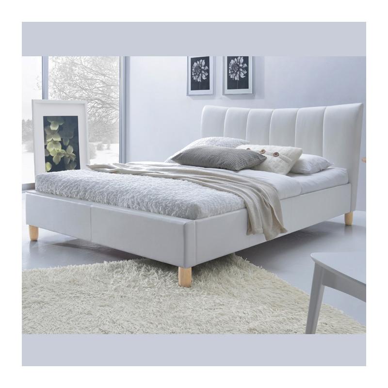 Lit Design Simili Cuir Blanc 160200 Sandie