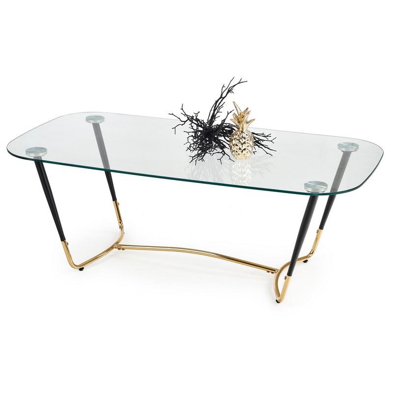 table basse design rectangulaire avec plateau en verre et pieds dores medusa