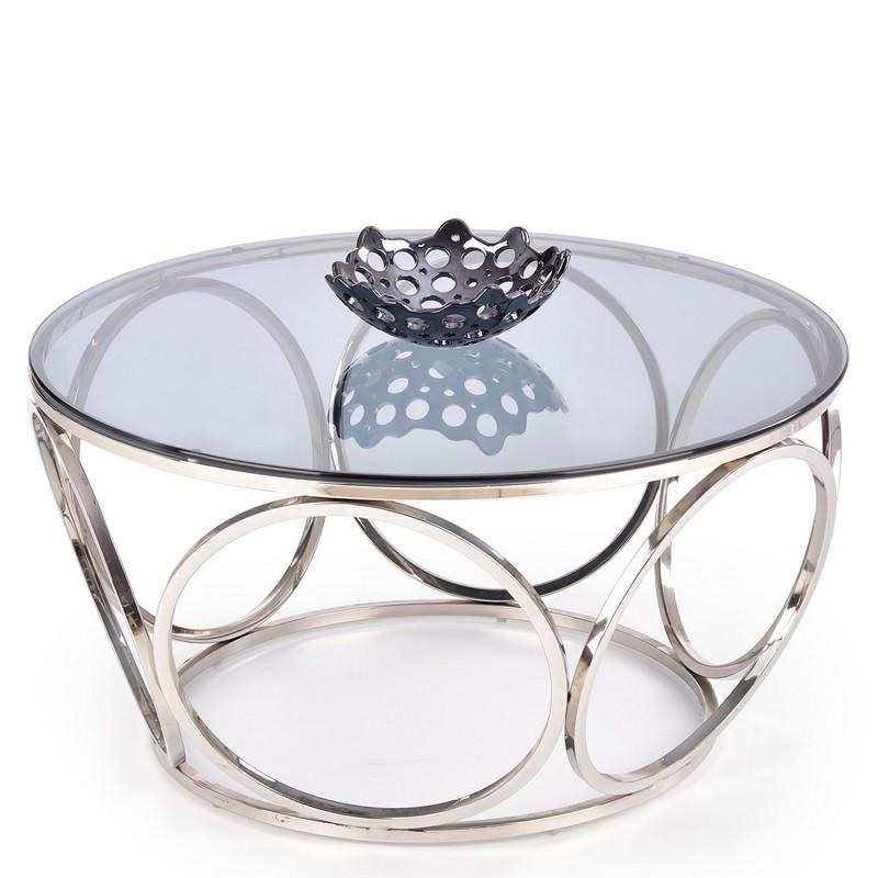table basse design avec pietement en acier chrome et plateau rond en verre fume 80 cm show