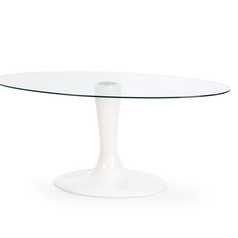table design ovale pied blanc laque 180x100cm sunny