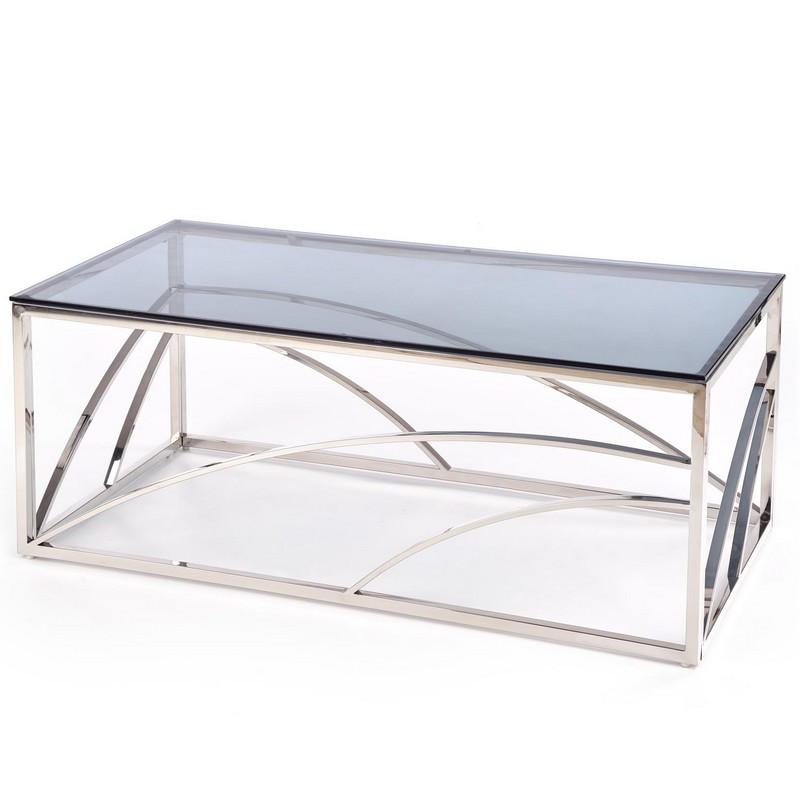 table basse rectangulaire avec structure design en acier argente et plateau en verre fume sochic