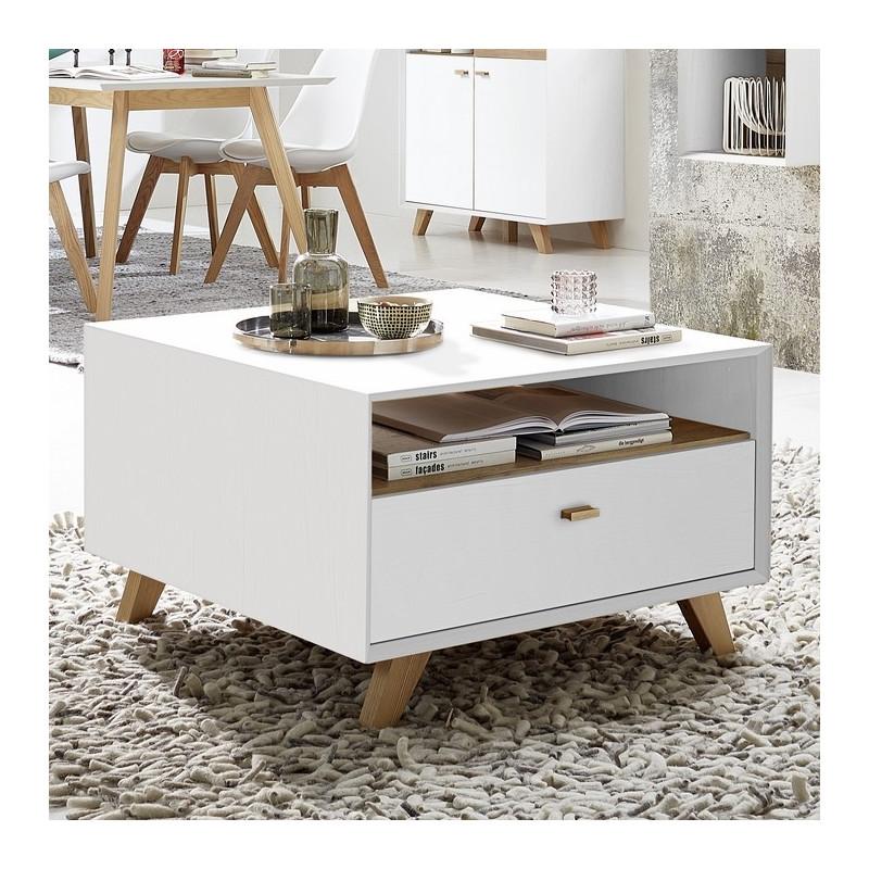 table basse carree scandinave avec tiroir borgund 80x80cm