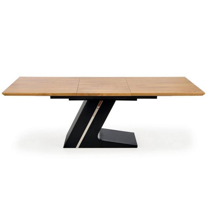 table de salle a manger extensible avec pied central en acier noir et plateau aspect chene naturel seattle