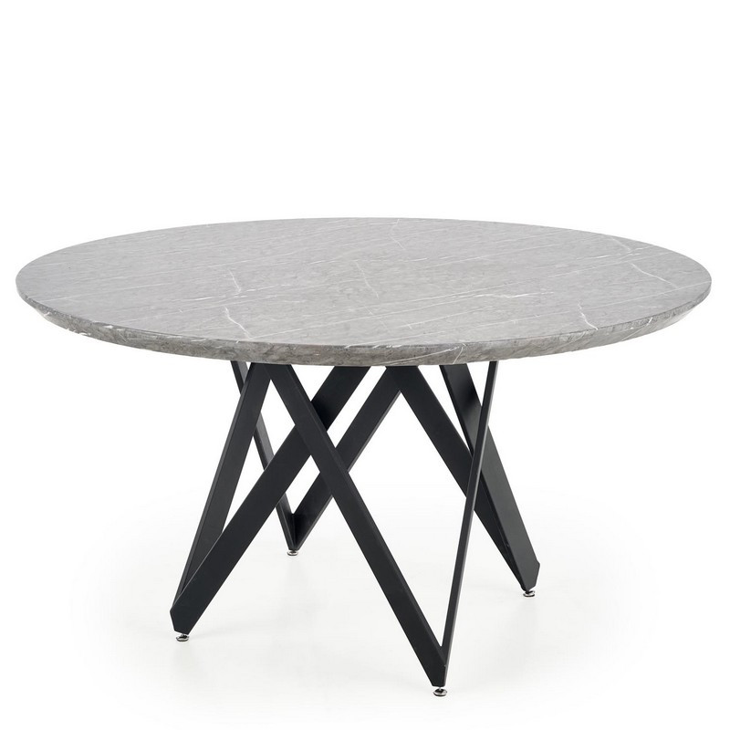 table a manger ronde 140cm avec plateau aspect marbre et pieds design en acier noir forza