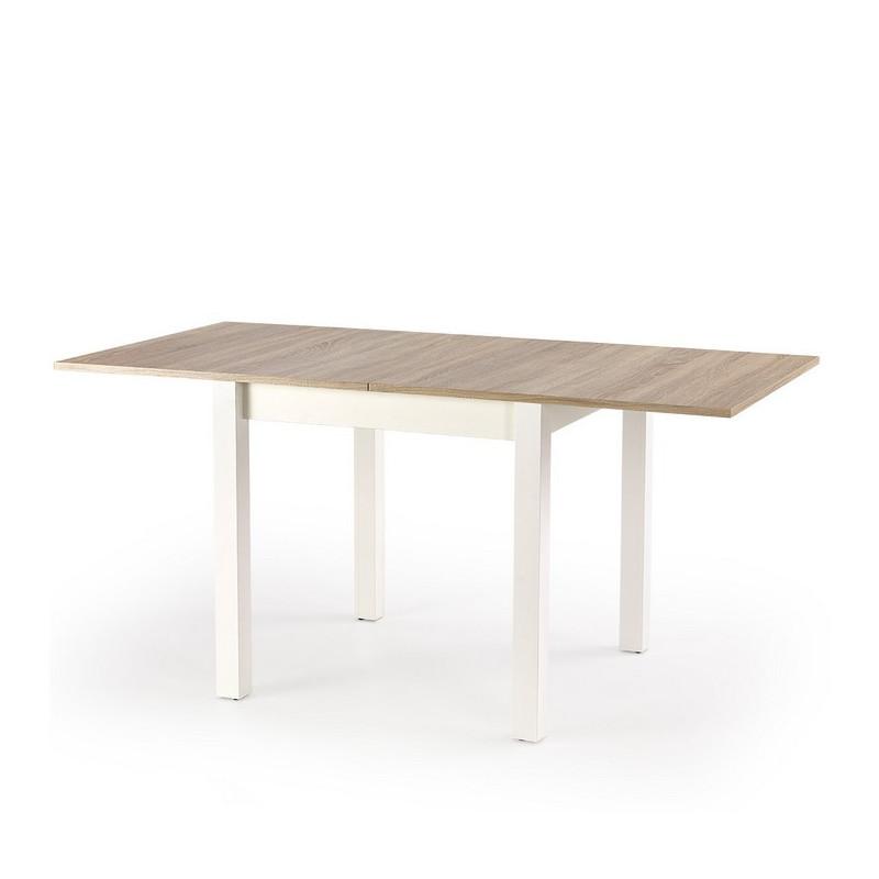 table carree bois et blanc avec rallonge salta