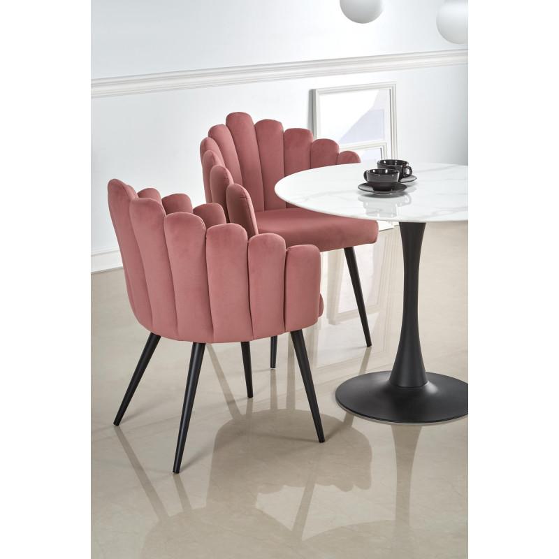 table ronde 90cm avec plateau en verre aspect marbre blanc et pied central noir amboise