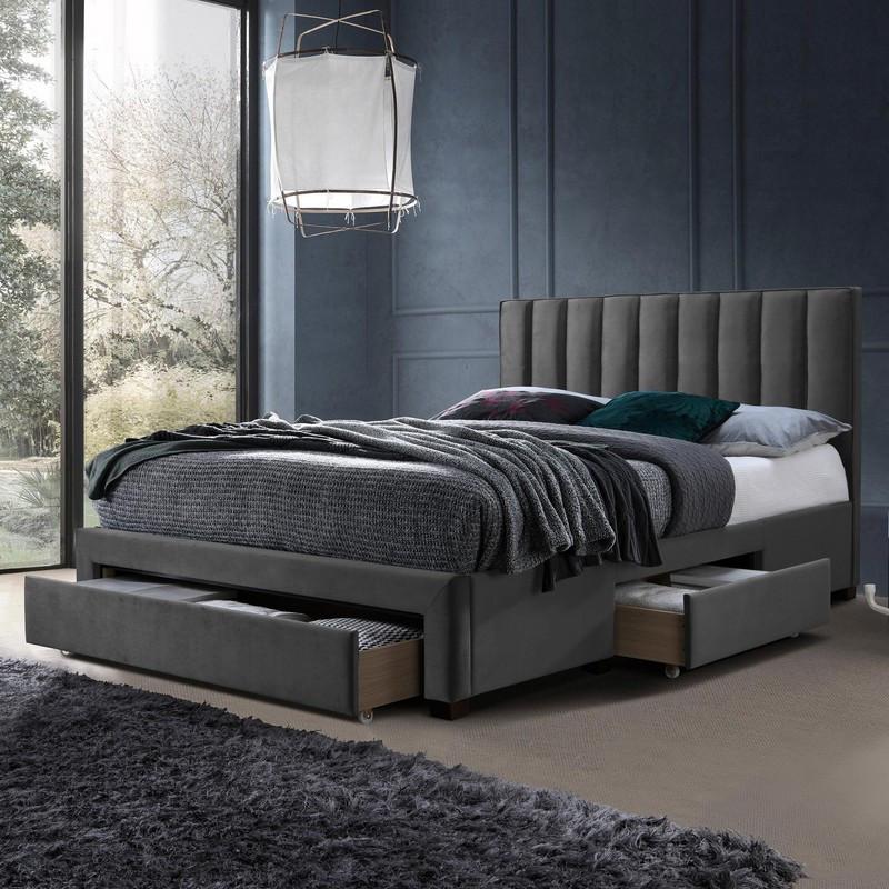 lit en velours gris 160 x 200 cm avec tiroirs de rangement velvet