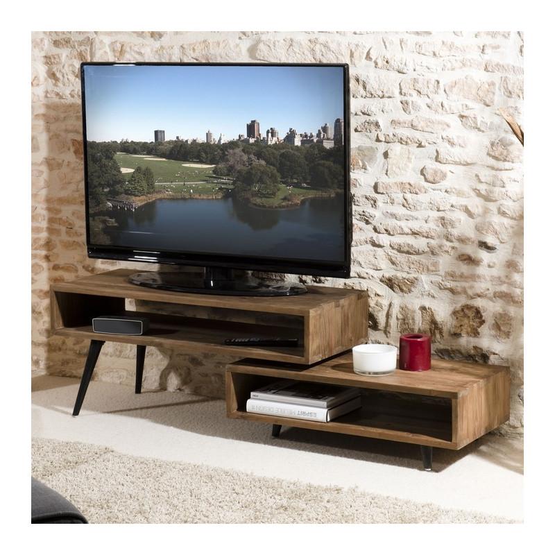 meuble tv rotatif bois teck pieds bois 100x40 tinesixe