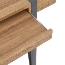 bureau 110 x 55 cm avec plateau aspect noyer et pieds epingles en acier noir fun