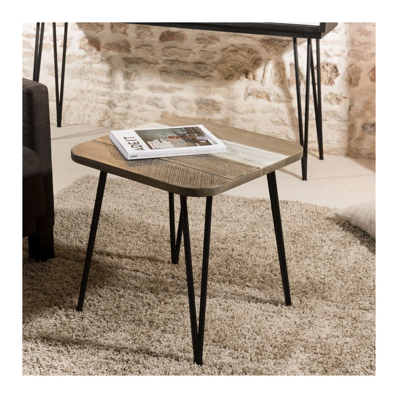 table d appoint industrielle acacia 50x50cm alice