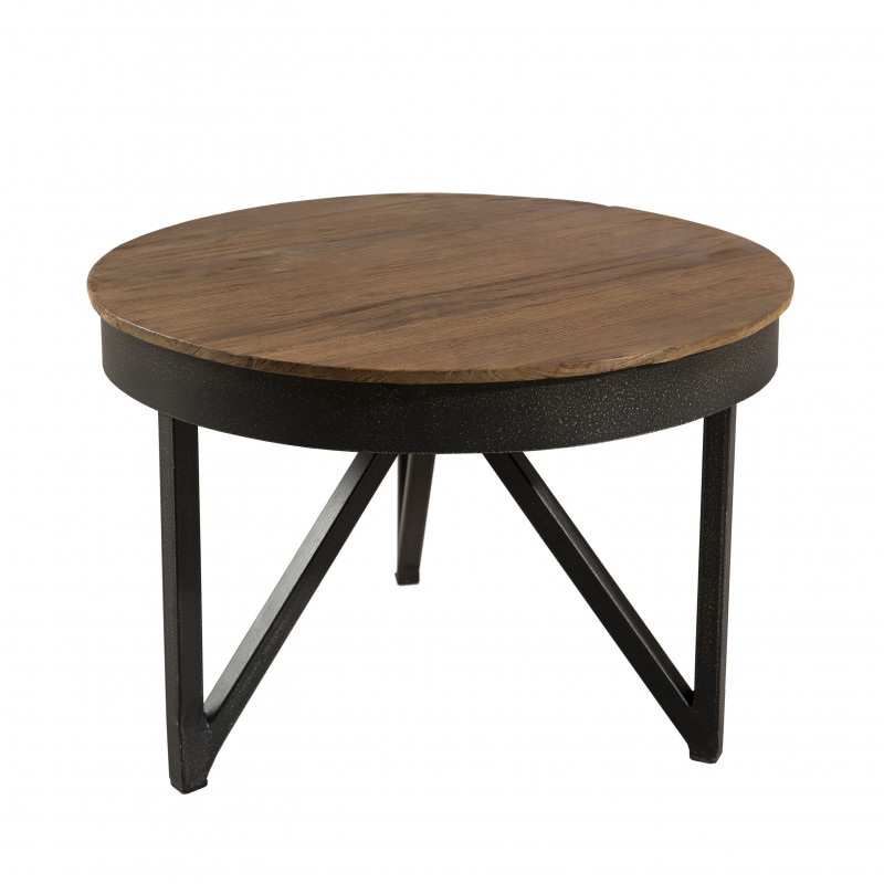 table basse ronde 50cm bois teck pieds metal tinesixe