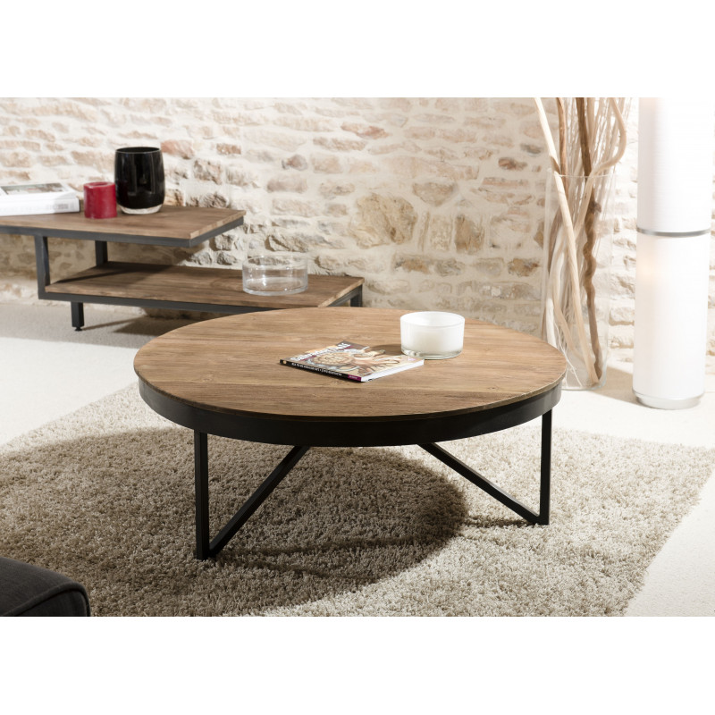 table basse ronde 90cm bois teck pieds metal tinesixe