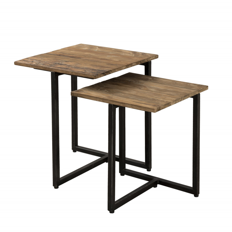 Table Gigogne Bois Teck 40x40 Et 35x35 Tinesixe