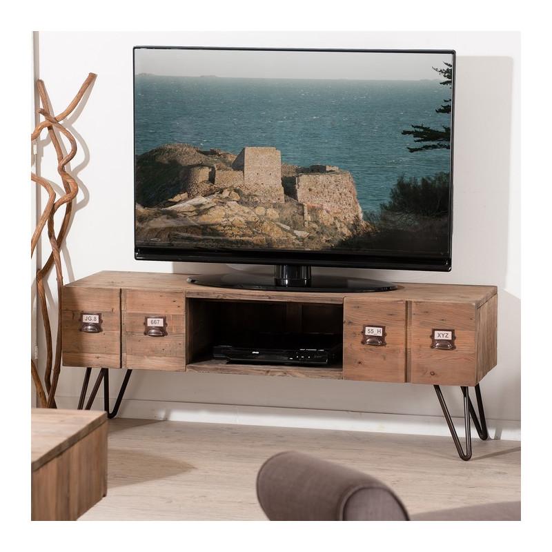 Meuble TV Industriel Mtal Et Bois Orianne So Inside
