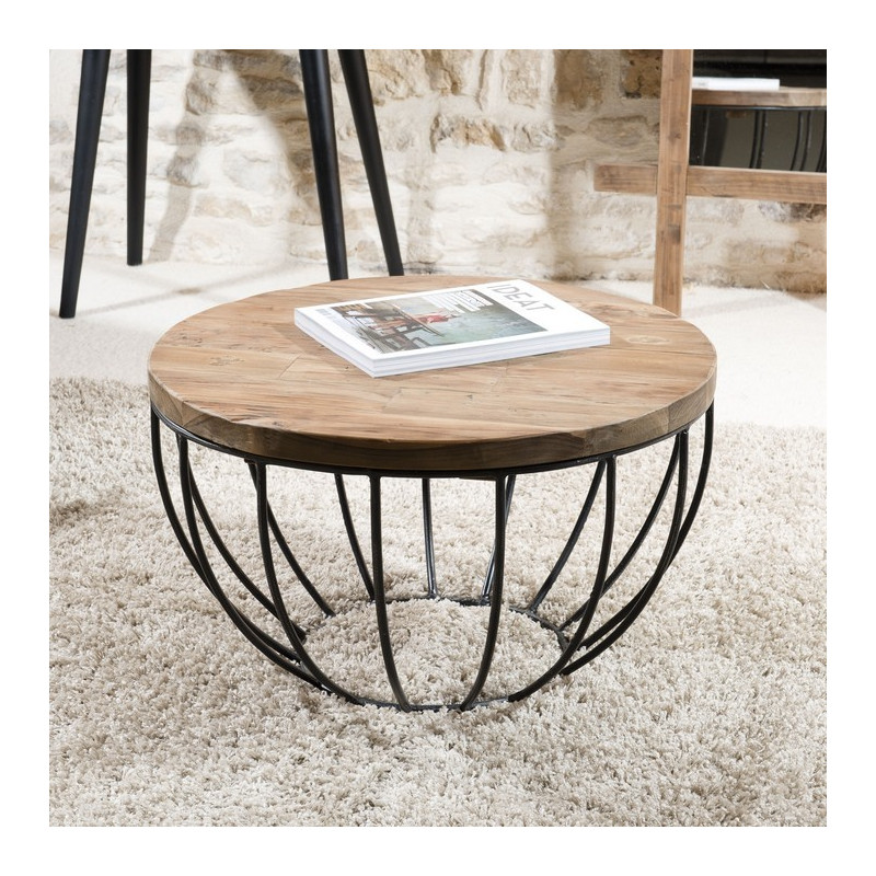 table basse ronde noire 60x60 tinesixe
