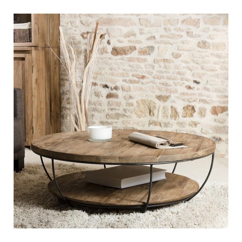 table basse ronde noire double plateau 100cm tinesixe