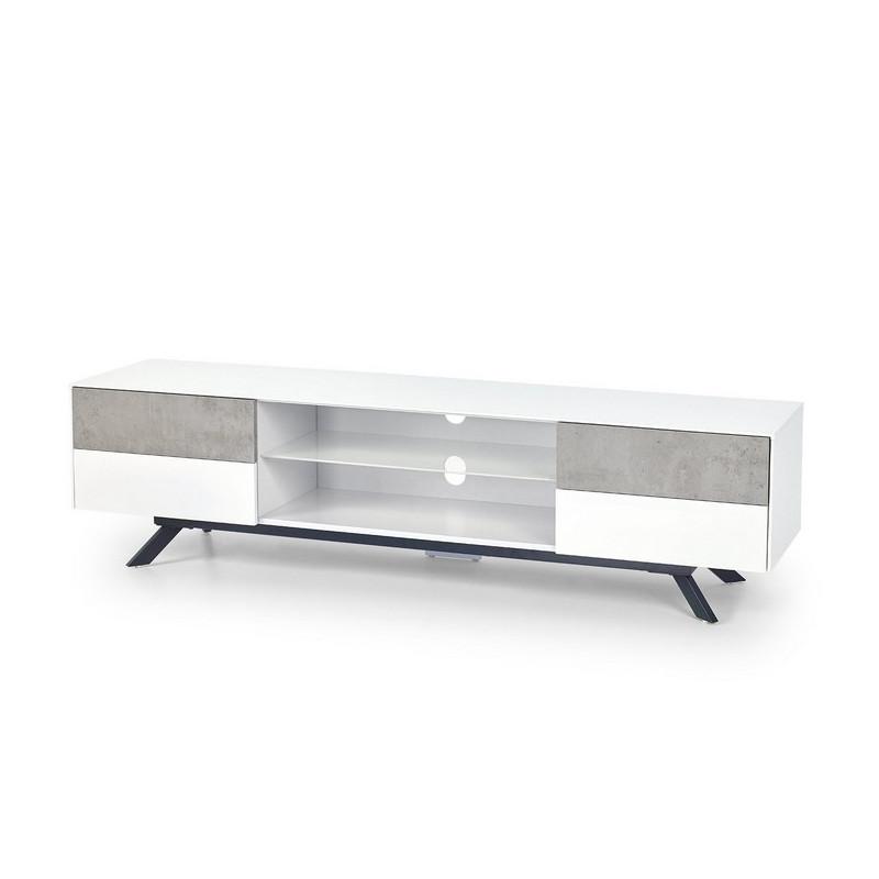 meuble tele blanc laque et beton 180cm astani
