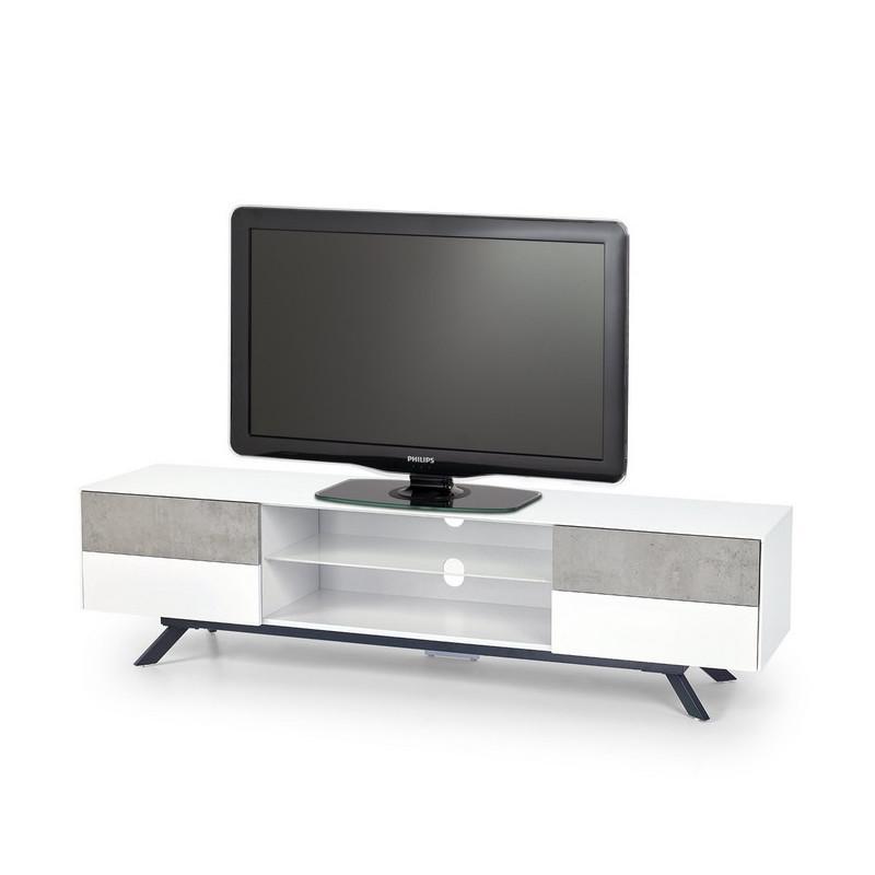Meuble Tv Bton Et Blanc Laque 4 Tiroirs 180cm Astani