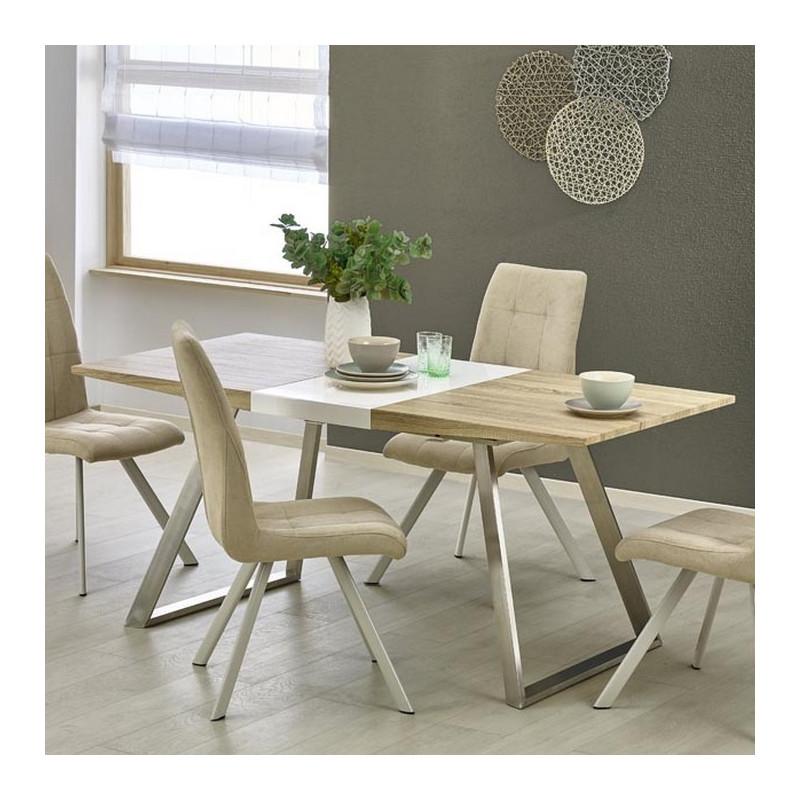 table salle a manger bois blanc et metal milena