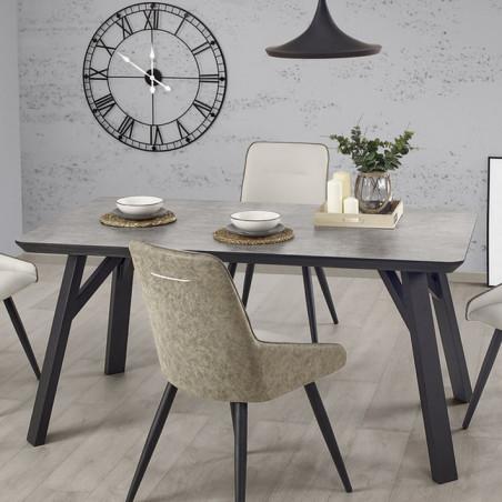 table a manger gris beton et noir 160x90cm ninon