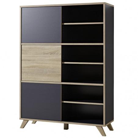 armoire de bureau haute grise et bois l 120cm rita
