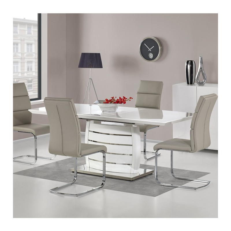 table a manger design a rallonge blanc laque snow