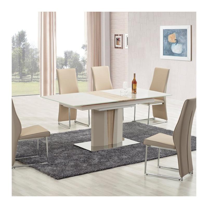 table a manger bois et beige clair dari