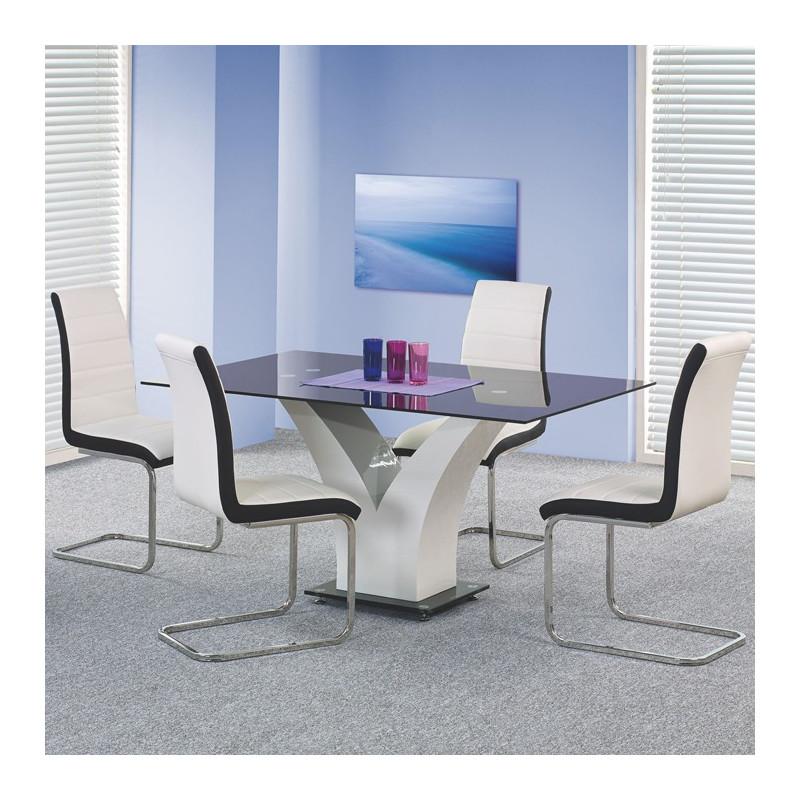 table a manger design noir blanc laque dario