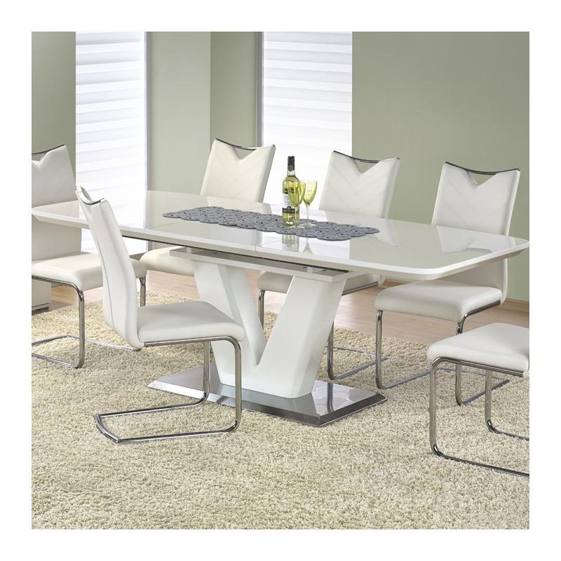 Table Manger Blanc Laqu Pied En V Clari So Inside
