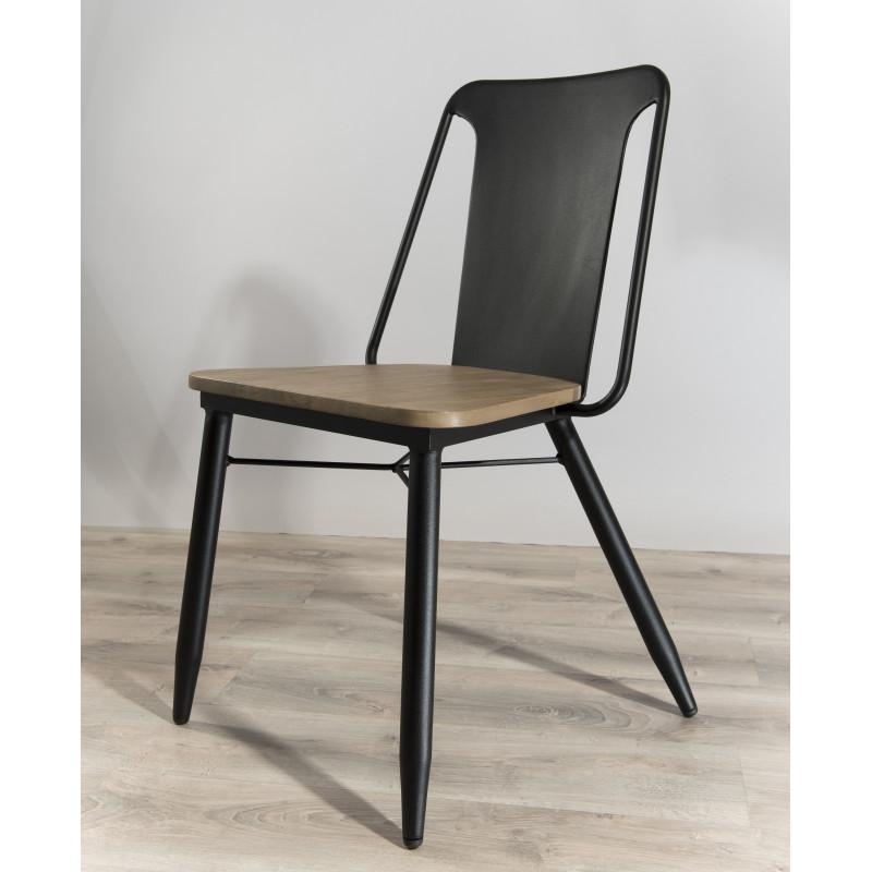 lot 2 chaises industrielles couleur noir et bois olana