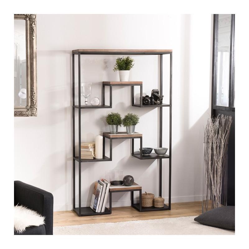 etagere xl design industriel bois et metal leon