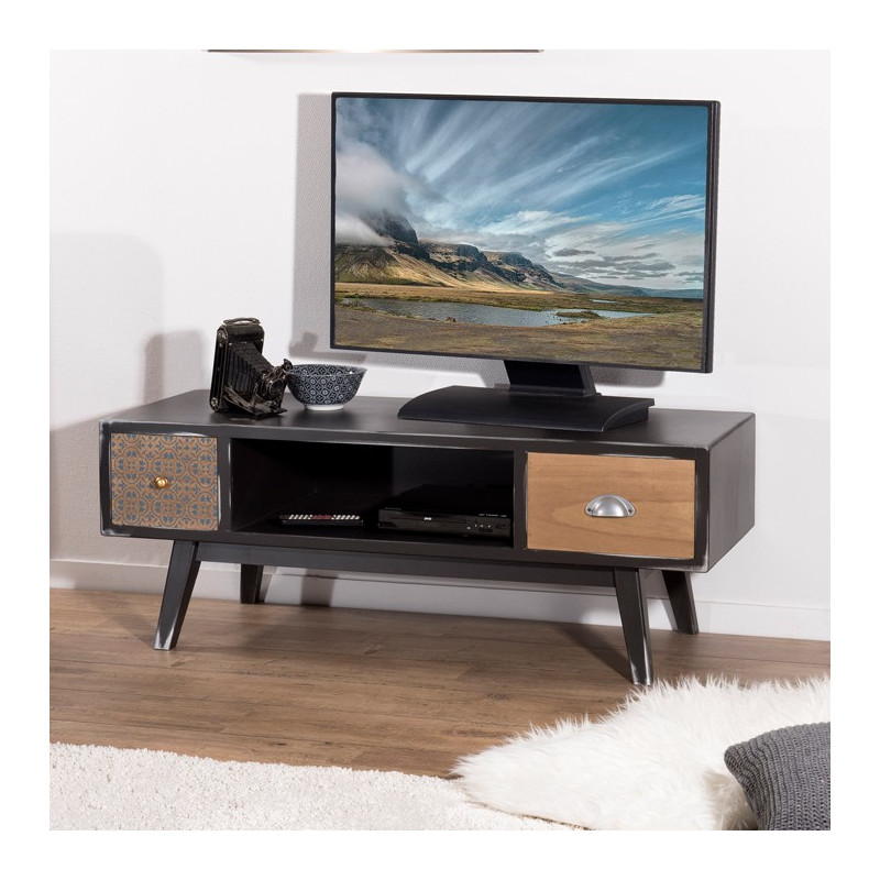 meuble tv design industriel vintage alta
