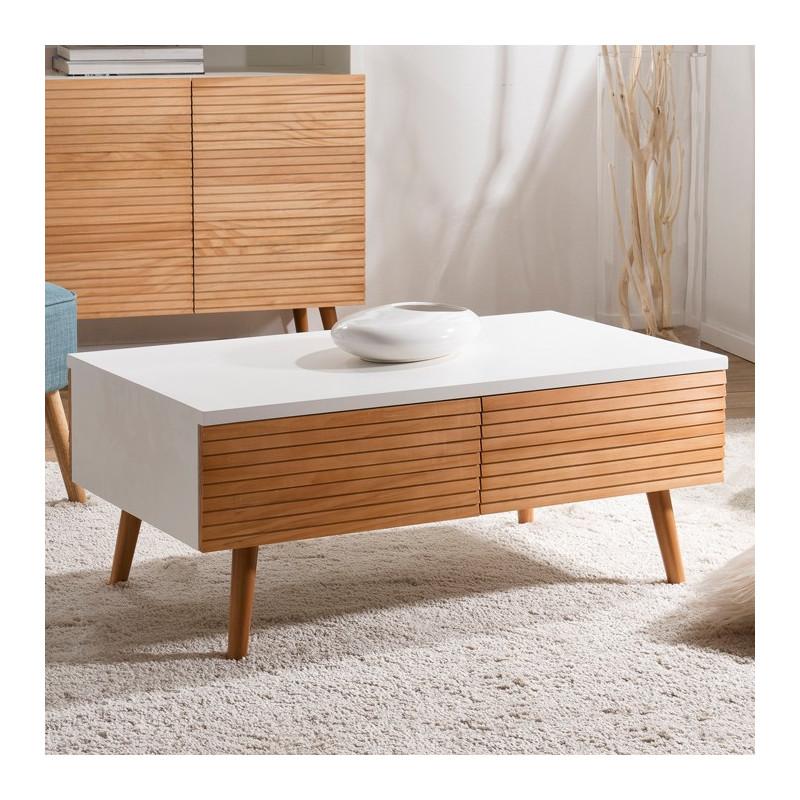 table basse design scandinave bois et blanc ella