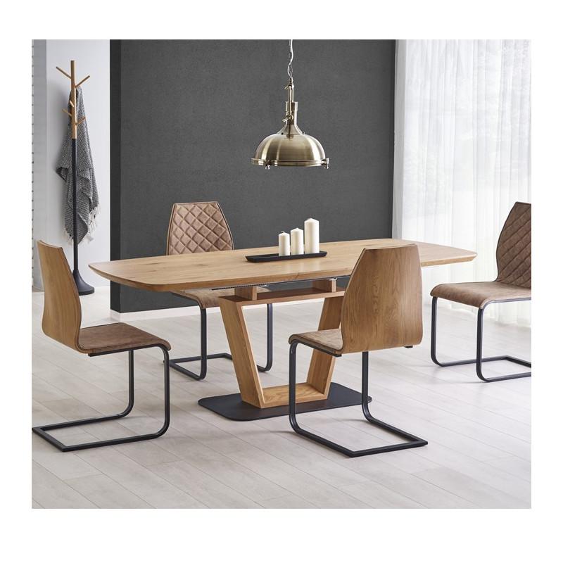 table design originale bois et metal 160 220x90cm banff