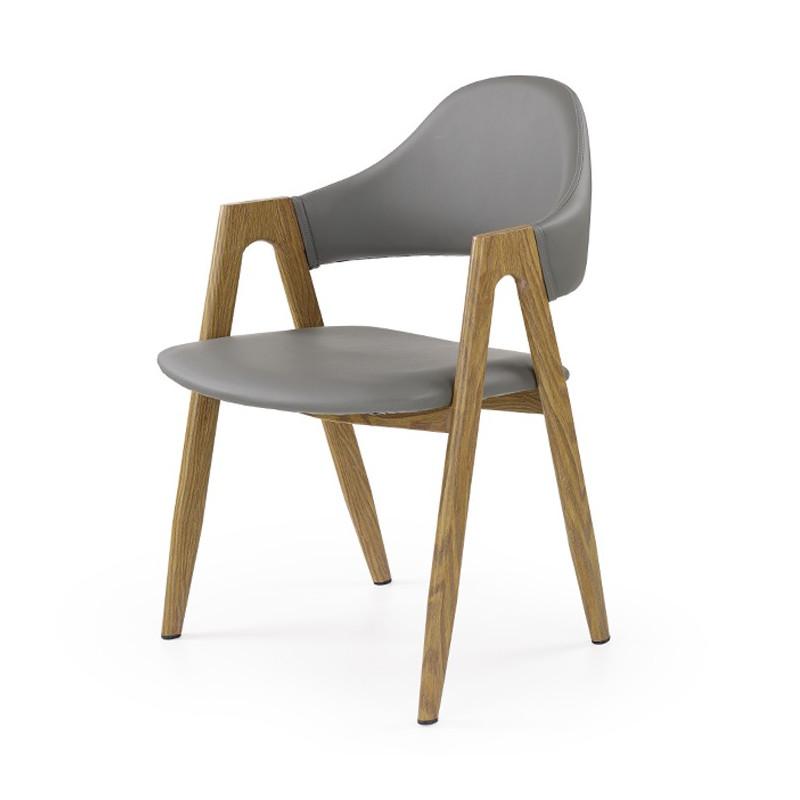 chaise contemporaine couleur bois et gris scotia