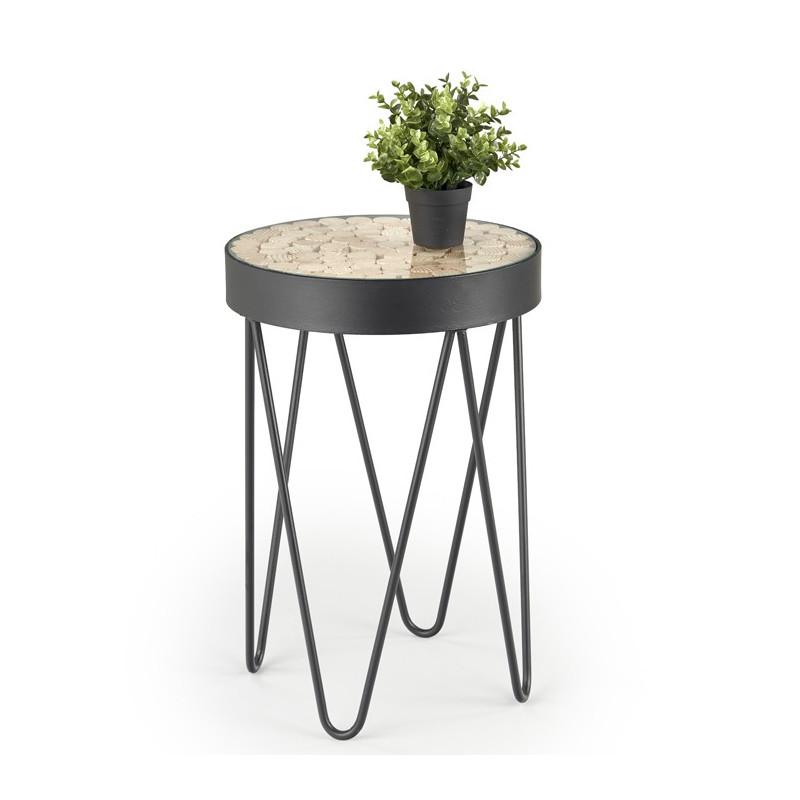 table d appoint ronde metal et bois design umea 41x59cm