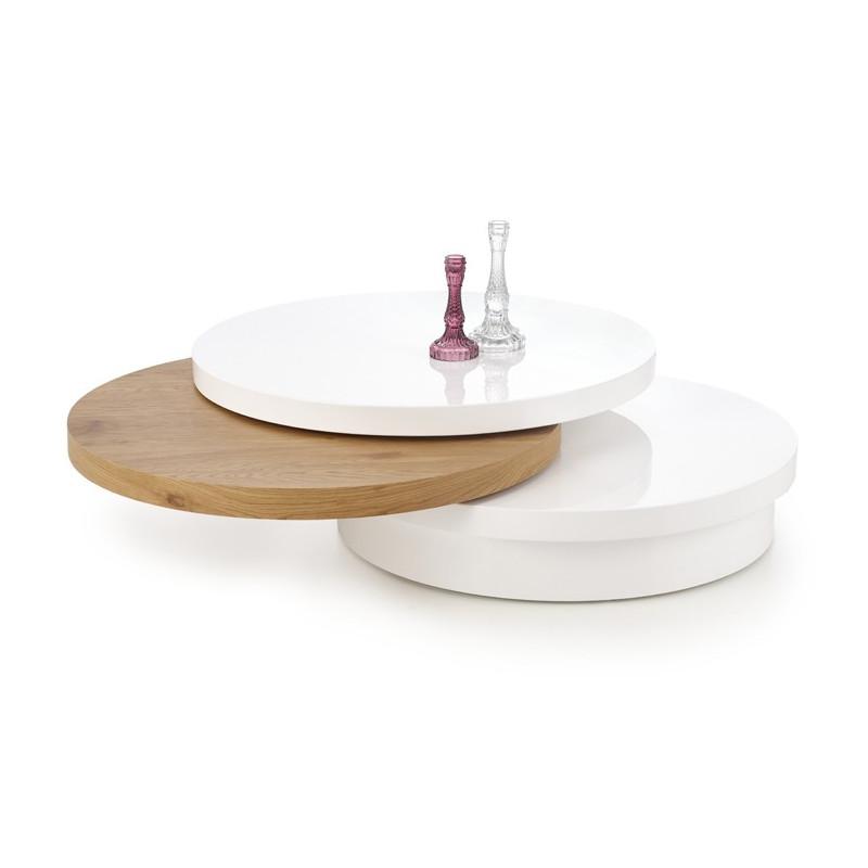 table basse ronde 80 cm laquee blanche et bois golden chelle