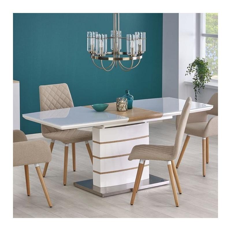 table contemporaine blanc laque et bois 140 180x80cm will
