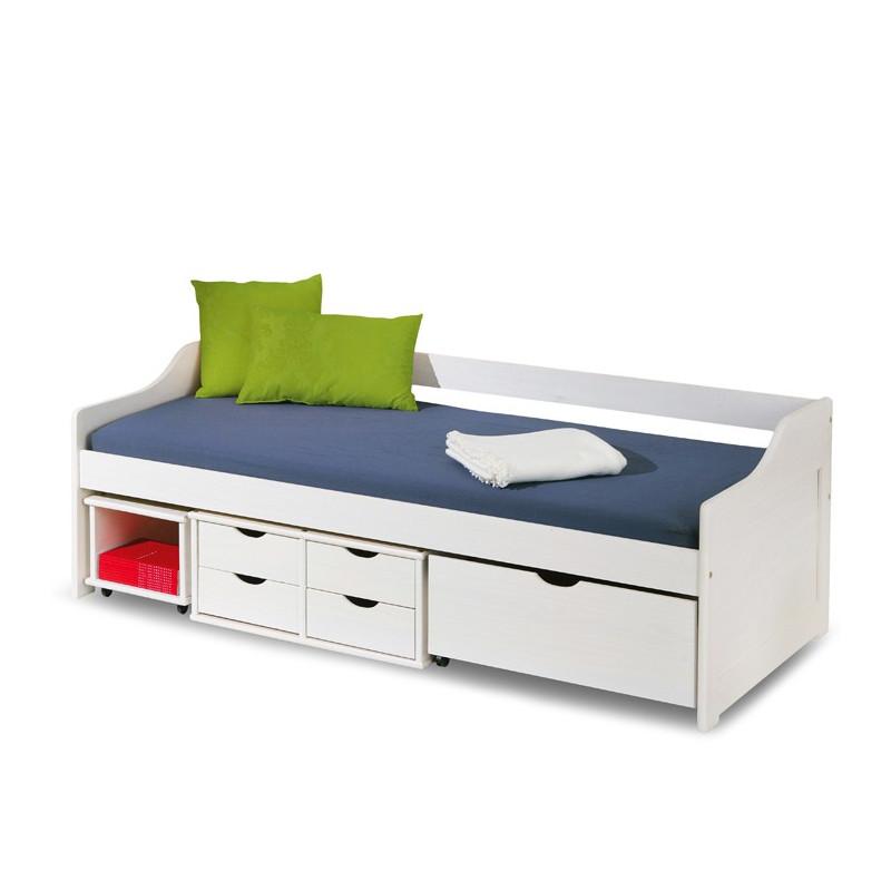 lit enfant bois massif blanc multi rangements 200x90 cm flore